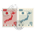 set of old postage stamps with japan map and flag vector image