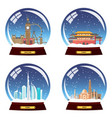 set snow globe city england china dubai and vector image