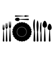 set tableware on white background vector image