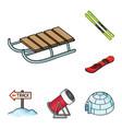 ski resort and equipment cartoon icons in set vector image