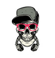 skull with headphones design element for poster vector image vector image