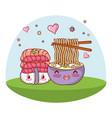 sushi kawaii cartoons vector image vector image