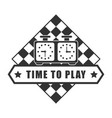 time to play chess logotype isolated on white vector image vector image