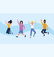 university women and men jumping with casual vector image vector image