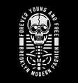 vintage white skull retro print for t-shirt vector image vector image