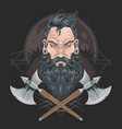 warrior beard men piercing element vector image vector image