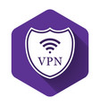 white shield with vpn and wifi wireless internet vector image vector image