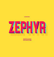zephyr font 3d bold colorful style vector image vector image