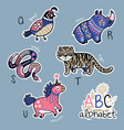 set of cute patch badges with animals alphabet q - vector image