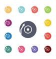 Vinyl turntable flat icons set vector image