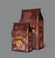 3d brown packaging design for chocolate cookies vector image