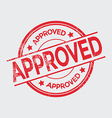 Approved grunge rubber stamp on white vector image