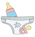 babottle milk with pacifier and diaper vector image vector image