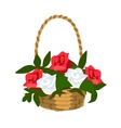 Basket of white and red roses vector image vector image