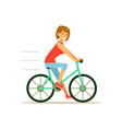beautiful young woman character riding bicycle vector image
