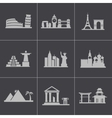 black landmarks icons set vector image