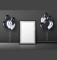 black photo frame standing on floor and balloons vector image