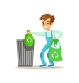 Boy Throwng Away Bin Bags Filled With Plastic vector image vector image