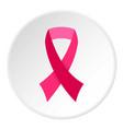 breast cancer awareness ribbon icon circle vector image vector image