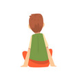 cute boy sitting on floor and listening little vector image vector image