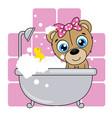cute cartoon bear in the bathroom vector image vector image