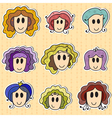 Cute hand drawn smiling faces vector image vector image