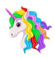 cute magical unicorn head cartoon vector image vector image