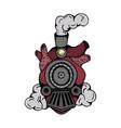 design locomotive heart tattoo style vector image vector image