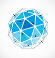 dimensional wireframe low poly object blue vector image vector image