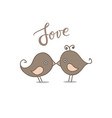 drawing two cute birds in love vector image vector image