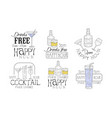 drinks free hand drawn retro labels set happy vector image vector image