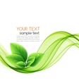 eco leaves and green wave vector image vector image