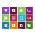 Electronic chip icons on color background vector image vector image