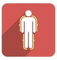 Exoskeleton Flat Rounded Square Icon with Long vector image