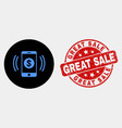 financial smartphone vibration icon and vector image vector image