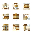 Flat simple icons for bungalows vector image vector image