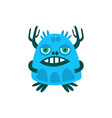 funny blue cartoon monster fabulous incredible vector image vector image