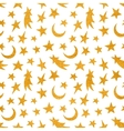 Gold textured cosmic seamless pattern vector image