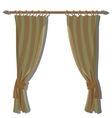 Green striped kitchen curtains on the ledge vector image