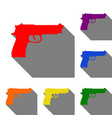 Gun sign set of red orange yellow