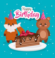 happy birthday card with fox and bear vector image