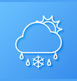 icon weather sun cloud sleet vector image