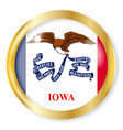 iowa flag button vector image