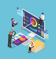 isometric business people analyzing business vector image vector image