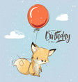 little fox with balloon vector image vector image