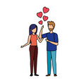 lovers couple with hearts floating vector image