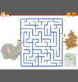 maze leisure game with elephant vector image vector image