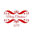 Merry Christmas red badge over white vector image vector image