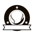 monochrome emblem with baseball ball and ribbon vector image vector image
