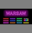 neon name of warsaw city vector image